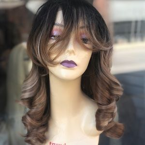 Wig ombré honey blonde 360 Freepart banana curl